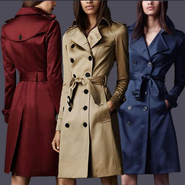 2017 spring coats khaki England Double-breasted trench coat for women windbreaker female trench coat free shipping plus size 5XL