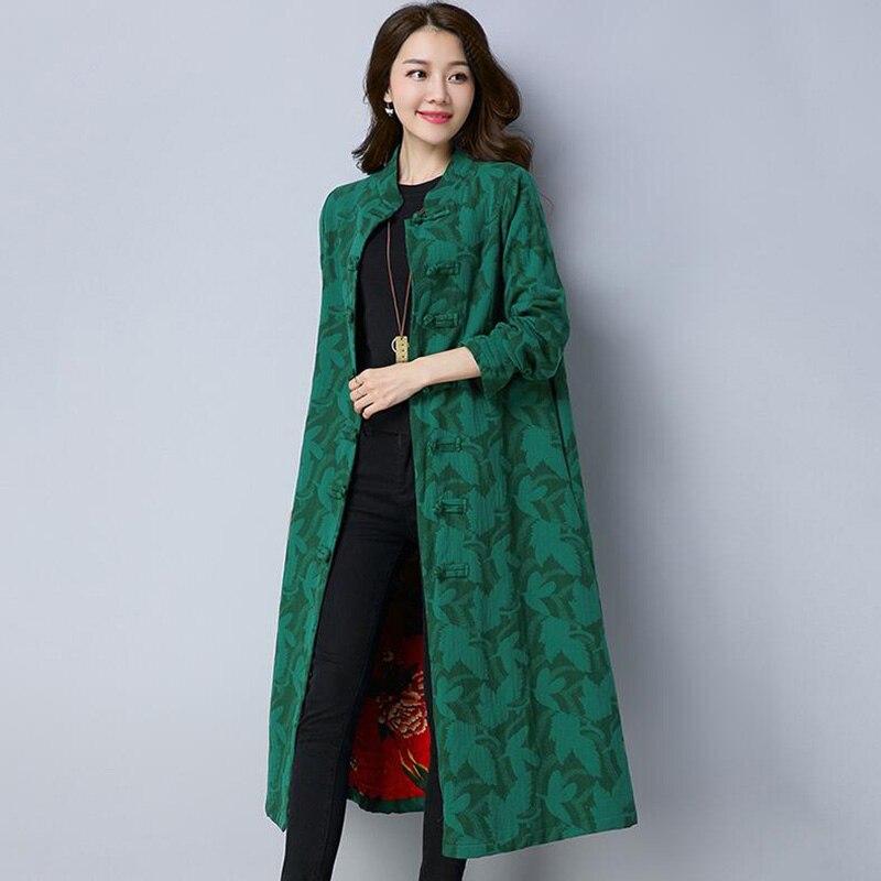 Spring Autumn Coat Women 2018 New National Wind Printing Long   Trench   Coat For Women Vintage Slim Plus Size Windbreaker
