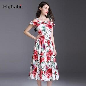 Женское длинное платье до середины икры без рукавов, с каскадными оборками, на тонких бретельках, с принтом роз, весна-лето 2018