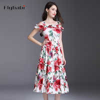 Sleeveless The roses are printed Cascading Ruffle Spaghetti Strap Slash neck Mid Calf Long Dress 2018 spring and Summer Women