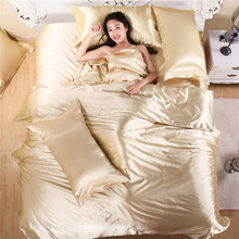 Wholesale 100% Soft Silk and Cotton Beddings Pure Silk Satin Bedspreads Solid Beige Silk Duvet Covers Pillowcase