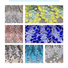 New Style African Lace Fabric 2019 High Quality 3D Flower Embroidery lace Trim 1 Yard For Bridal Dress