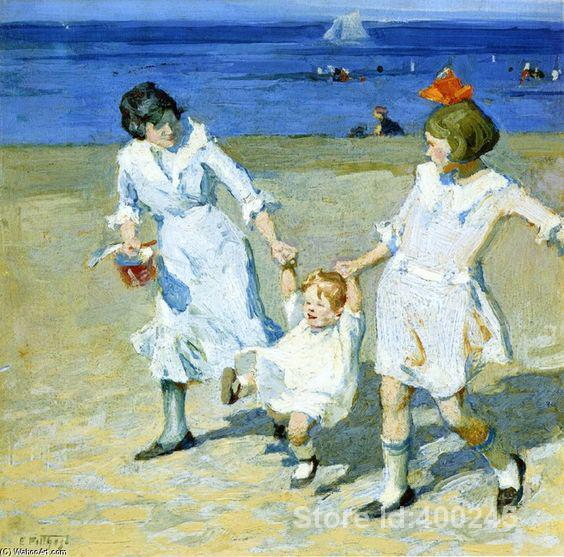 Decorative art Two Females Swinging a Child by Edward Henry Potthast paintings for bedroom Hand painted High qualityDecorative art Two Females Swinging a Child by Edward Henry Potthast paintings for bedroom Hand painted High quality