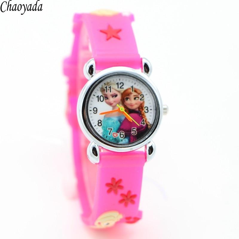 Relojes Mujer Infantil Reloj Снежная королева принцессы Эльзы, Анны мультфильм смотреть 3D Для детей Кварцевые наручные часы