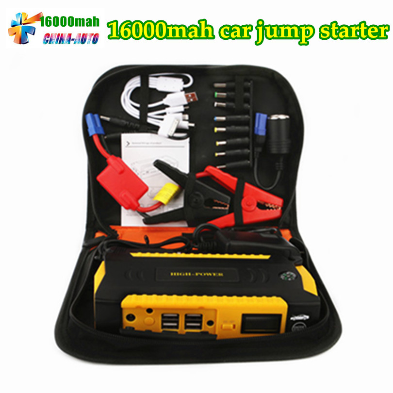 2018 Multi-Function 16000mAh 12V Car Jump Starter Car Portable 600A Peak Car Charger 4USB Power Bank Compass SOS Lights