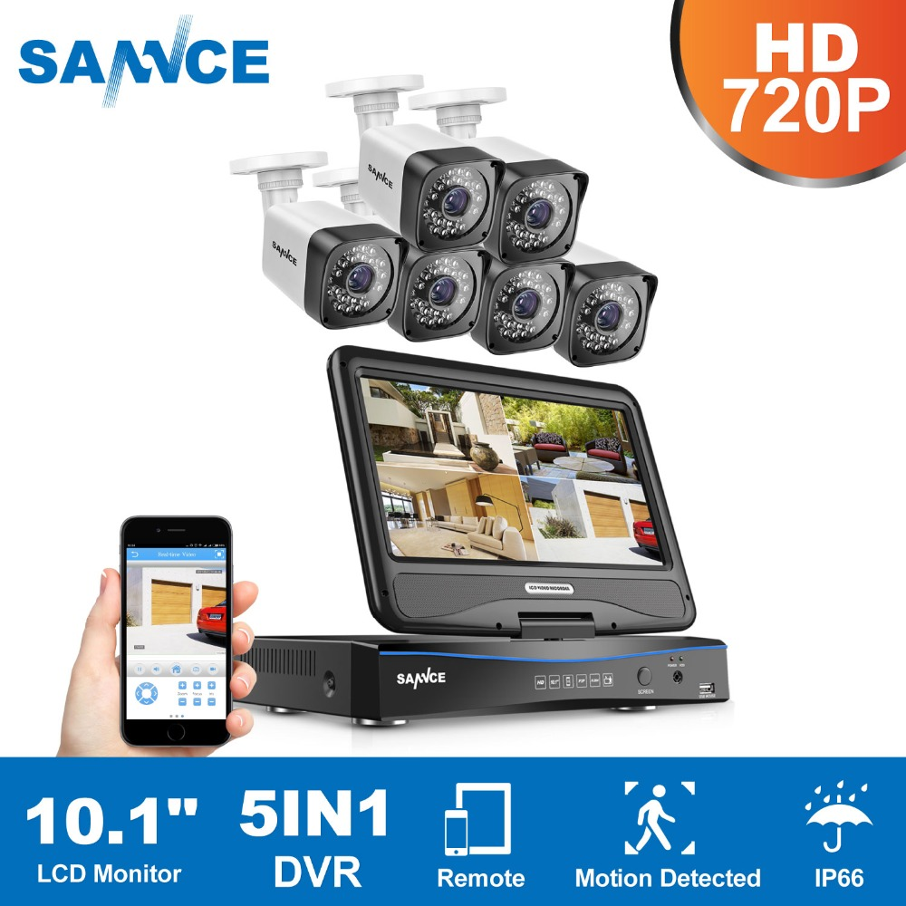 SANNCE 10.1 LCD 8CH HD 720P DVR 6PCS 1500TVL In/Outdoor Weatherproof Cameras Home Security Camera Video CCTV  Surveillance KitSANNCE 10.1 LCD 8CH HD 720P DVR 6PCS 1500TVL In/Outdoor Weatherproof Cameras Home Security Camera Video CCTV  Surveillance Kit