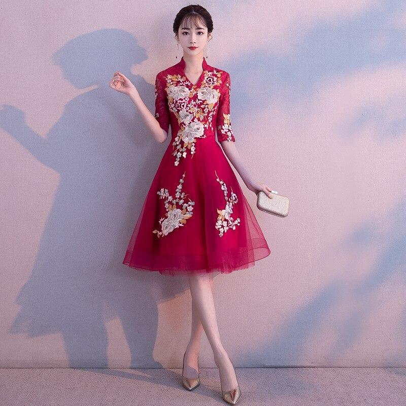 Broderie florale Vintage mariée chinoise Cheongsam robe 2019 col en V une ligne formelle robes de soirée élégante dame robes de bal