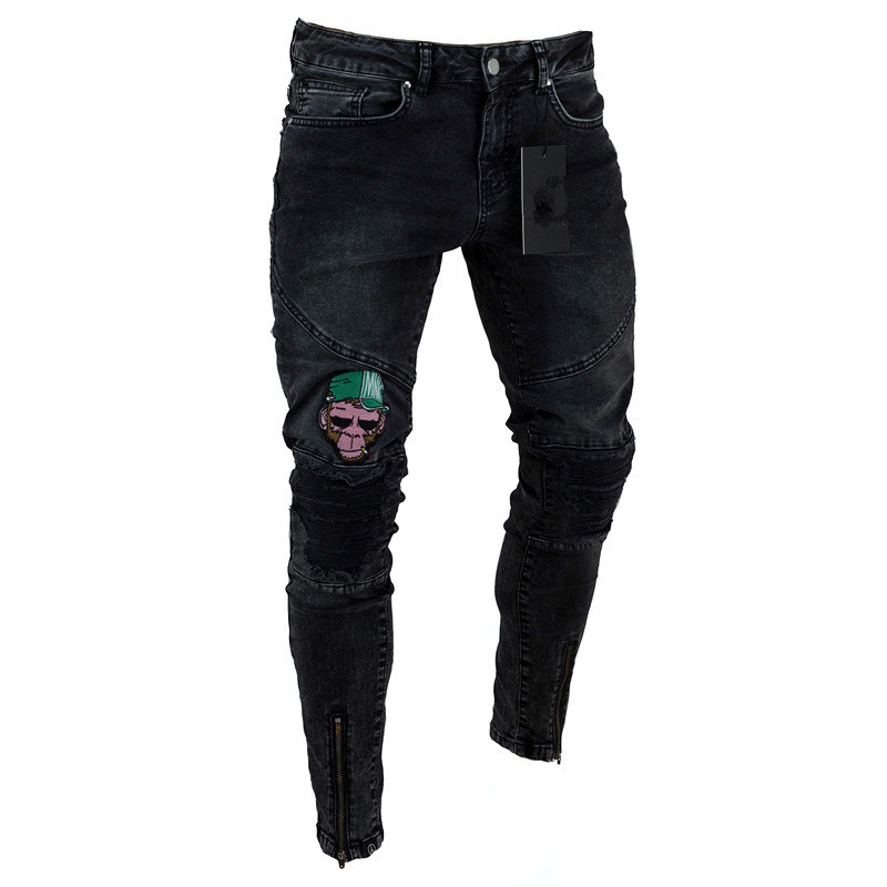 high quality new men street hip-hop elastic Skinny   jeans   wrinkle in knee biker pants thigh ankle zipper male broken Hole design