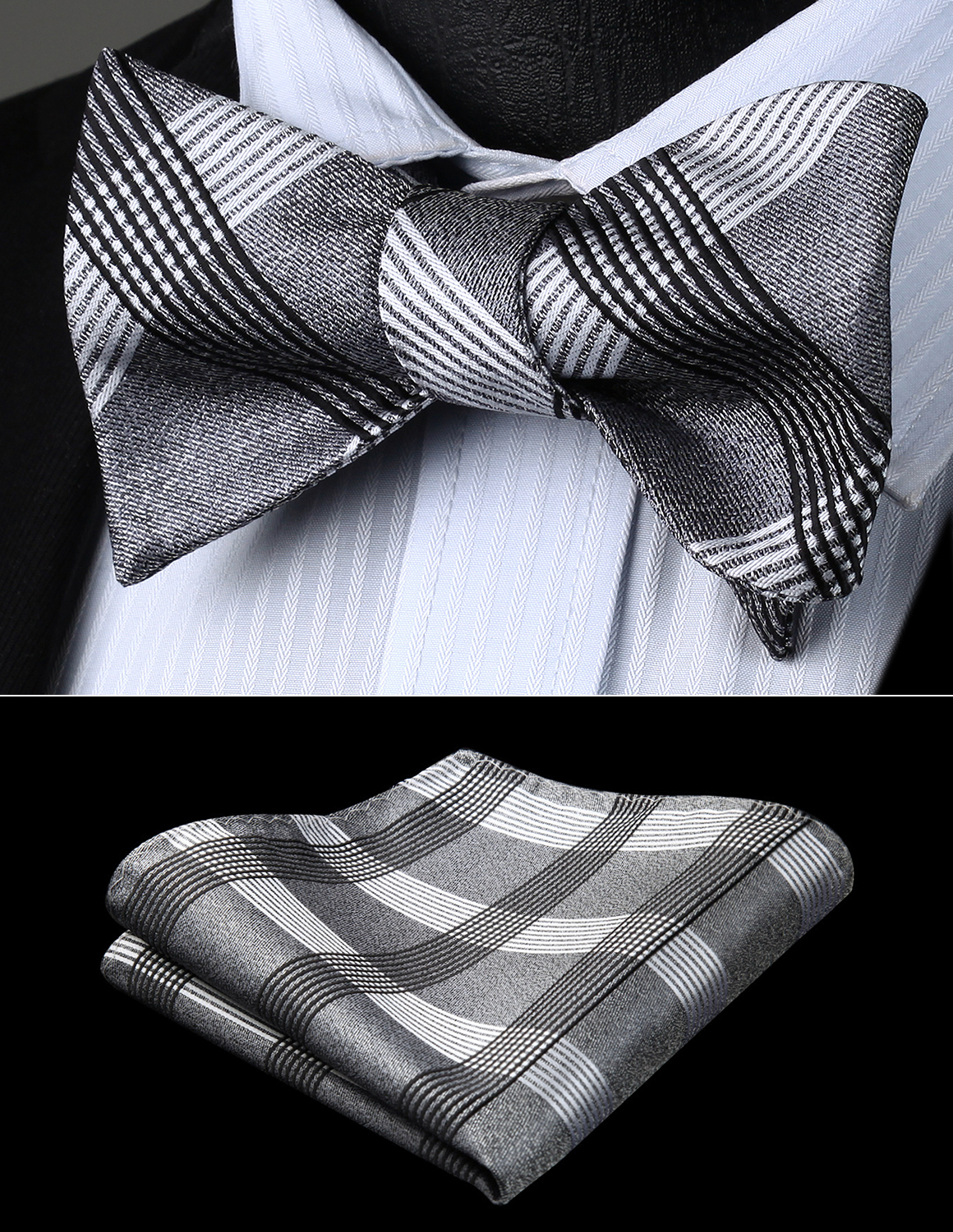 Bow Tie Handkerchief Set Men Woven Party Wedding Gray Black White Plaid & Chcek Self Bow Tie Pocket Square Set#BC925AS