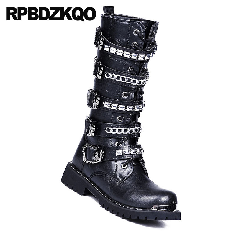 Hot Sale Mens Leather Rivet Flat Heel Military Combat Knee High Boots Shoes Size
