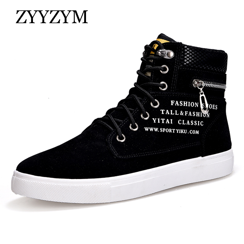 ZYYZYM Men Shoes Casual Shoes High Lace-Up Style Rubber Fashion Trend Men Sneakers Male Shoes