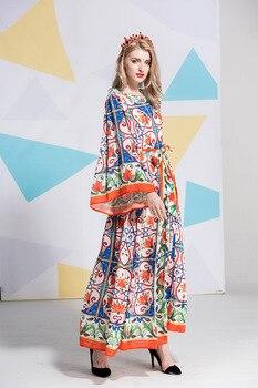 b8c85c517 Estilo de Italia flare manga vestido nuevo de verano de 2018 retro vestido  elegante de moda vintage vestido maxi S434
