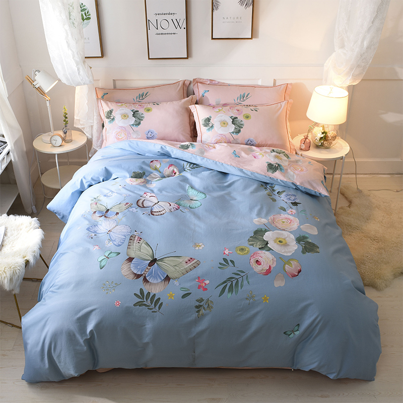 New 100%Cotton Printed Flowers Bloom Bedding set Comfortable Soft Duvet Cover set Bed Sheet Pillowcases Queen King Size 4pcs