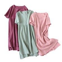 Verão Novas Mulheres Camisola Confortável Cor Sólida Gaze de Algodão Vestido Longo Vestido Homewear Senhoras Gola Redonda Camisola Fina e Macia