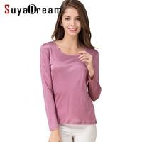 Women T shirt 100% Natural silk base shirt Long sleeve O neck shirt 2018 FALL new white black Bottoming shirt