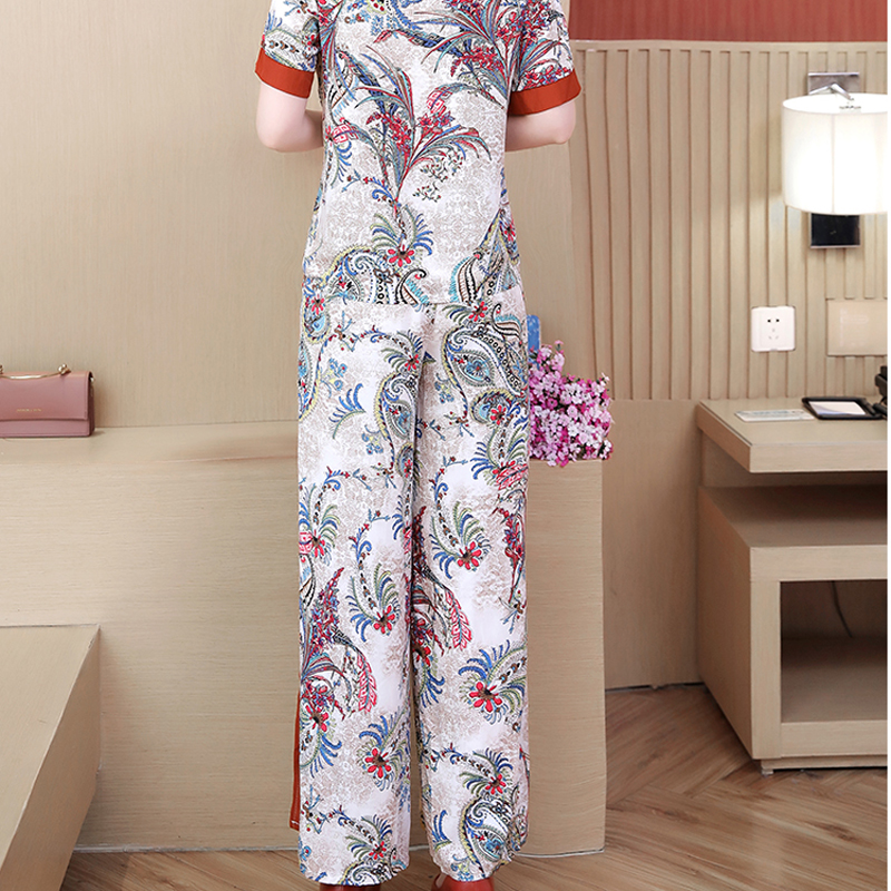 Woman Two Piece Outfit Set Tracksuits for Women Plus Size Large Pant and Top Floral Print Co ord Set 2019 Summer White Clothing in Women 39 s Sets from Women 39 s Clothing
