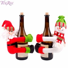 FENGRISE Christmas Wine Bottle Cover Snowman Santa Claus Bottle Cover Dinner Table Christmas Decorations for Home Xmas Ornaments(China)