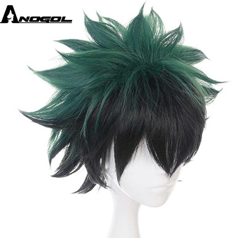 Anogol My Hero Academia krótki prosto zielony czarny Boku nie Midoriya Izuku wysokiej temperatury włókna peruka syntetyczna Cosplay na imprezę