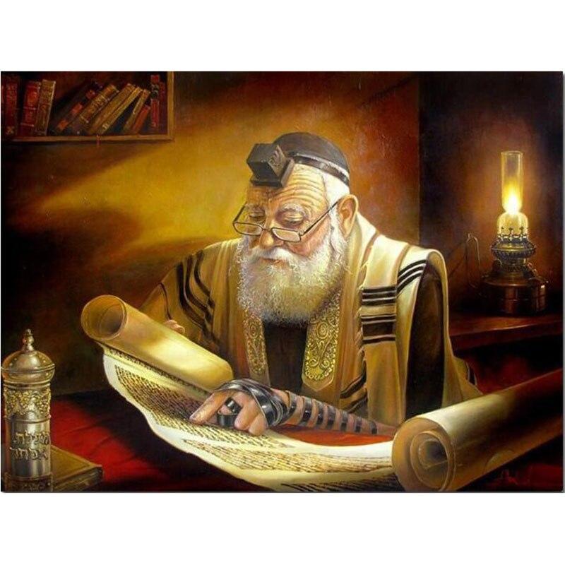 5d Diy Rabbi Reading Diamond Painting Mosaic Cross Stitch Square/round  Diamond Embroidery Home Decor Craft Wall Paper V450