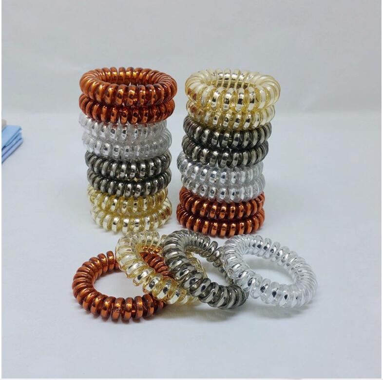 12 Pcs/Lot 3.5 Cm Gold Silver Brown Telephone Cord Phone Plastic Strap Rubber Holders Hair Bands Rope Ties Hair Accessories