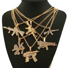 Мода AK47 револьвер Uzi пистолет кулон ожерелья для женщин мужчин хип хоп ювелирные изделия стимпанк Bling горный хрусталь Золото Длинная цепочка ожерелье