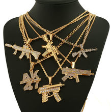 Fashion AK47 Revolver Uzi Gun Pendant Necklaces Women Men Hip Hop Jewelry Steampunk Bling Rhinestone Gold Long Chain Necklace(China)