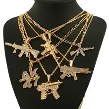 Pendant Necklaces Jewelry-Steampunk Uzi-Gun Revolver Long-Chain Rhinestone Hip-Hop AK47