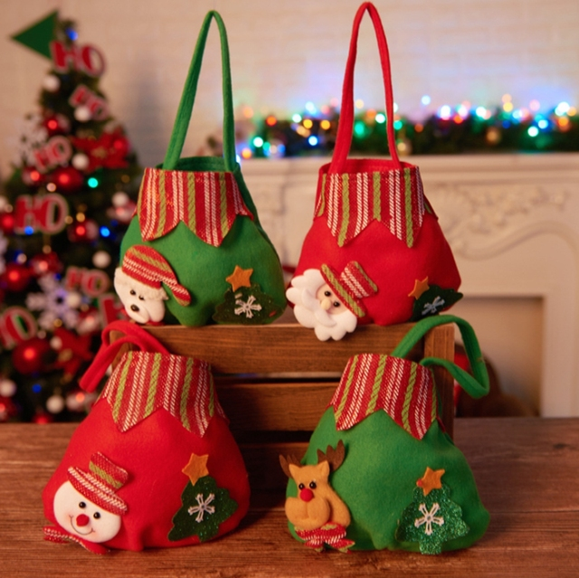 1pcs christmas candy gift bags decoration diy colorful cute creative christmas children adult gifts tote bag