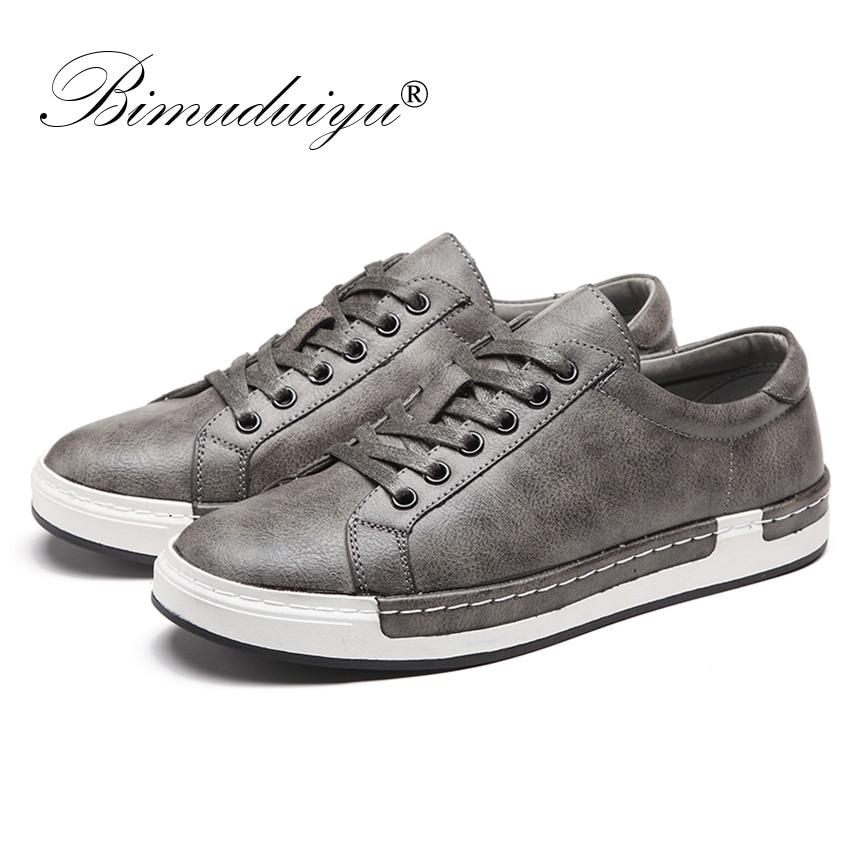 BIMUDUIYU Handmade Casual Shoes Men Brand Male Lace-up Retro Breathable PU Leather Flats Oxford Footwear