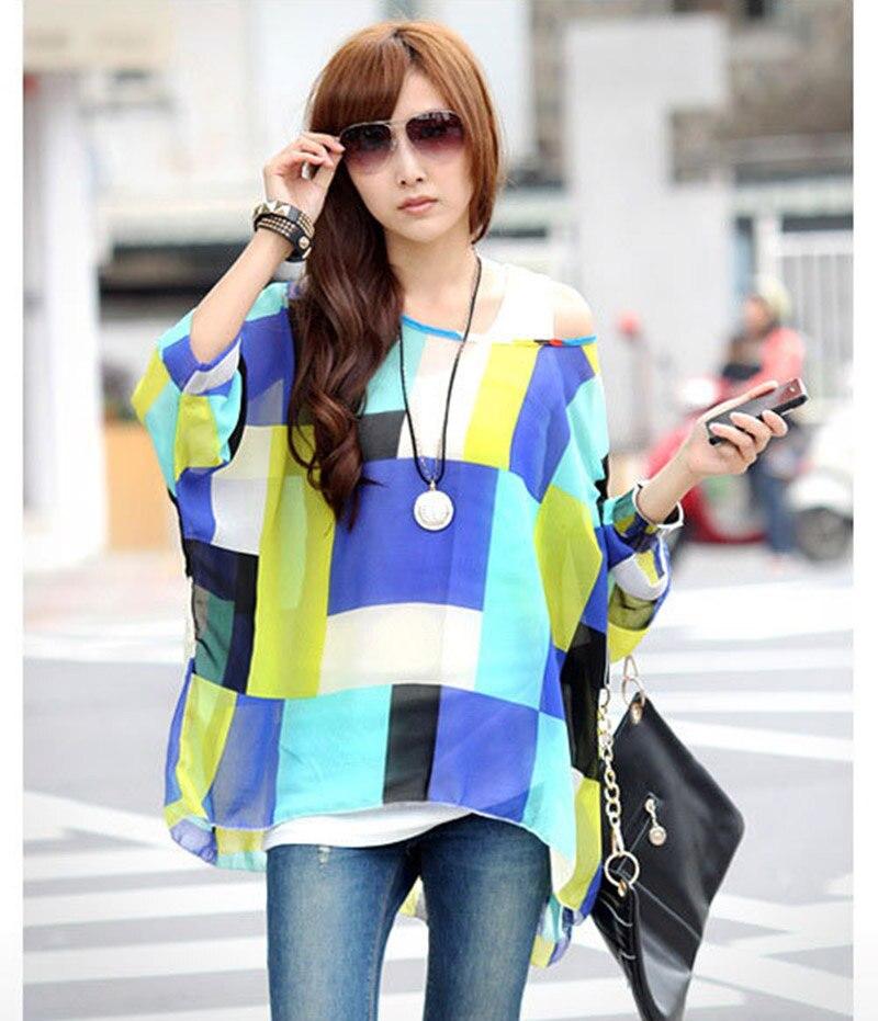 75d8d9d3 Fashion Geomeric printed women sheer blusas plus size summer blusas 2016  vogue design girls plus size shirts chiffon blouses