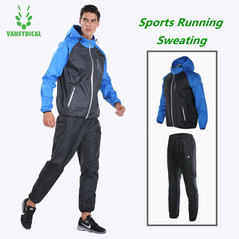 Vansydical Sports Suits Men s Gym Sportswear Fitness Running Jacket Pants Set Lose Weight Quick Sweating