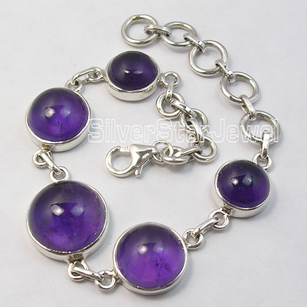 Chanti International Silver Low Price Amethysts BESTSELLER Heavy Bracelet 8 Inches UNISEX