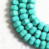 Blue Turquoise Stone 10x15mm Abacus Faceted Fashion Diy Beads 15 B322