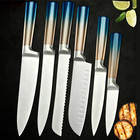 6pcs/set Stainless Steel Kitchen Knife Fruit Utility Santoku Chef Slicing Bread Knives 5 7 8 3.5 inch Kitchen Accessories