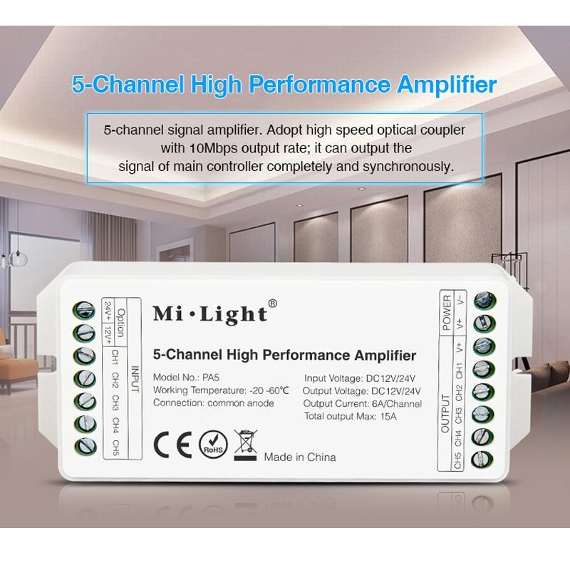 Mi Licht Dc12v/24 V Pa5 15a 5-kanal Hohe Leistung Verstärker Serie Controller Und Alle Pwm Typ Led Controller Fortgeschrittene Technologie üBernehmen Dimmer Beleuchtung Zubehör