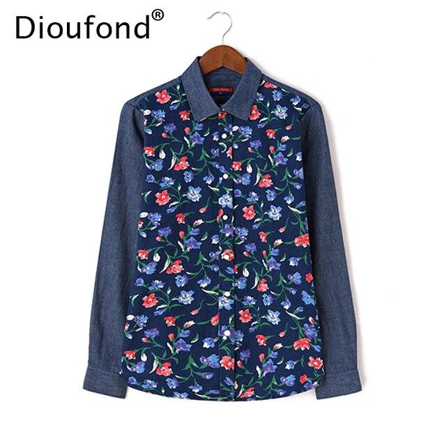 Dioufond Цветочный принт Denim Лоскутная рубашка Для женщин с длинным рукавом осень-зима джинсы блузки Повседневное Blusas топы плюс Размеры 5XL 2017