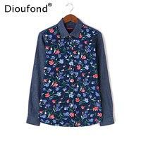 Dioufond Floral Print Denim Patchwork Shirt Women Long Sleeve Autumn Winter Jeans Blouses Casual Blusas Tops Plus Size 5XL 2017