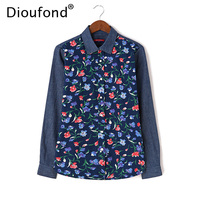 Dioufond Floral Print Denim Patchwork Shirt Women Long Sleeve Autumn Winter Jeans Blouses Casual Blusas Tops
