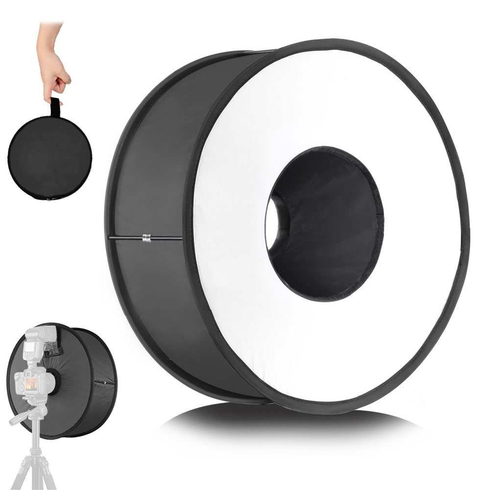 Wrumava Round Softbox 18'' / 45cm Collapsible Magnetic Softbox Macro Ring Speedlight Diffuser for Microspur Portrait Photography