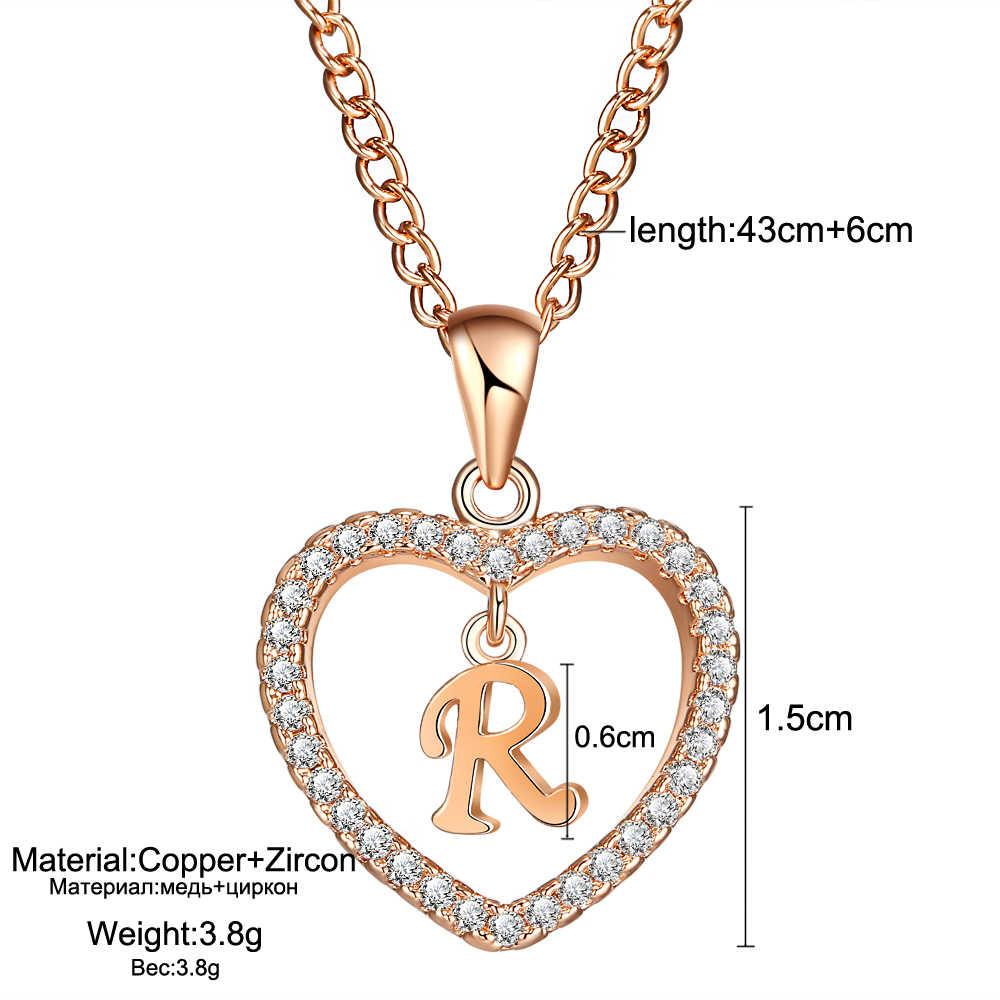 IF ME ارتفع الذهب والفضة اللون رسالة R كريستال القلب القلائد و المعلقات بيان مجوهرات مخصصة عيد الحب زوجين هدايا