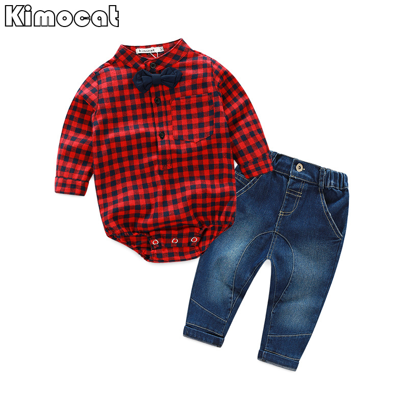 Infant Newborn Baby Boy Boy Clothes Long SleeveB Gentleman Rompers +pants Suit Kids Boy Clothing Set kids clothes 22