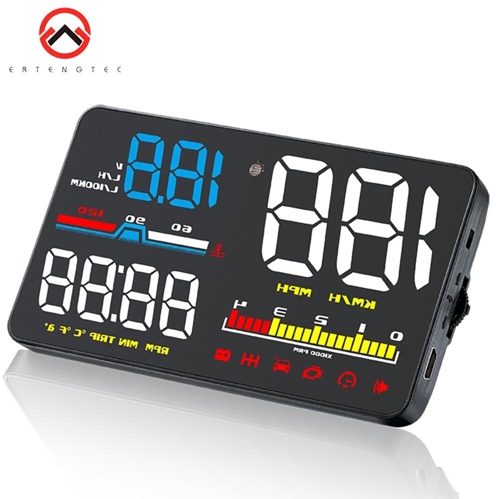 D5000 HUD Head Up Display coche OBD2 Digital inteligente de 5 pulgadas pantalla velocímetro parabrisas para proyector fatiga alarma de velocidad