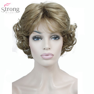 Image 2 - Strongbeauty 여성 합성 가발 capless 짧은 곱슬 머리 금발/검은 자연 가발