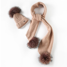 EAGLEBORN Women Winter Hat And Scarf Set Warm Cashmere Knitted Hat Scarf For Girls High Quality Fur Pompoms Hats Lady Beanies