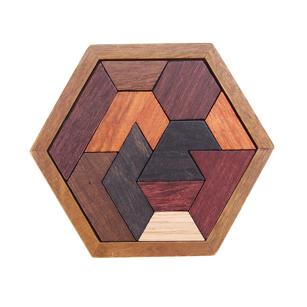 Children Wooden Hexagonal Puzzles Assembled Creative Tangram Jigsaw Educational Intelligence Puzzle Baby Kids Toys children s early childhood educational toys the bear change clothes play toys creative wooden jigsaw puzzle girls toys