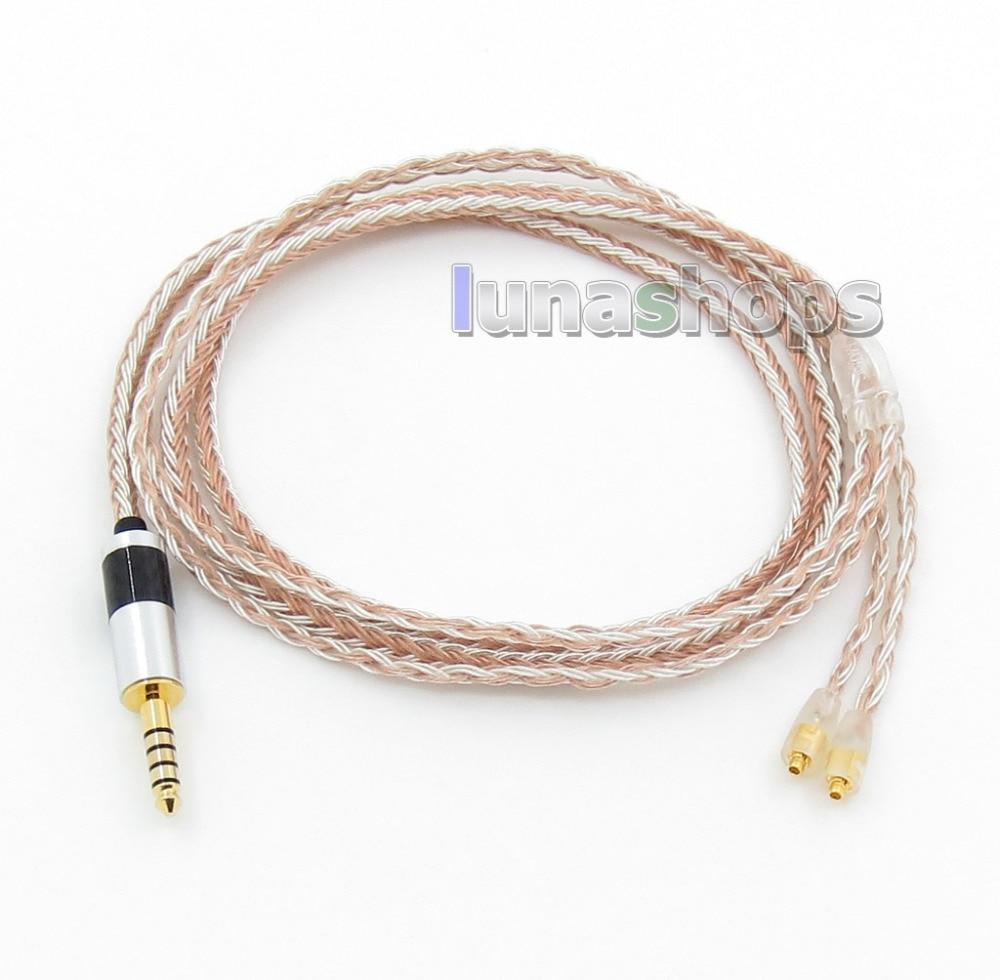 4.4 мм сбалансированной 16 ядер ОКК Посеребренные комбинированный кабель для наушников компания westone W60 W50 W40 um50, как UM30 UM10 LN005793