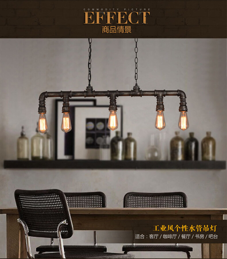 5 Head Loft Style Vintage Water Pipe Pendant Lamp Wrought Iron Pipe Light Coffee Shop Decoration Light  Free Shipping american industrial vintage loft style creative water pipe pendant light restaurant coffee shop decoration lamp free shipping