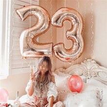 8c9c3cca2 32 polegada Rosa de Ouro Prata Rosa Azul Preto Tamanho Grande Número Folha  Balões de Hélio