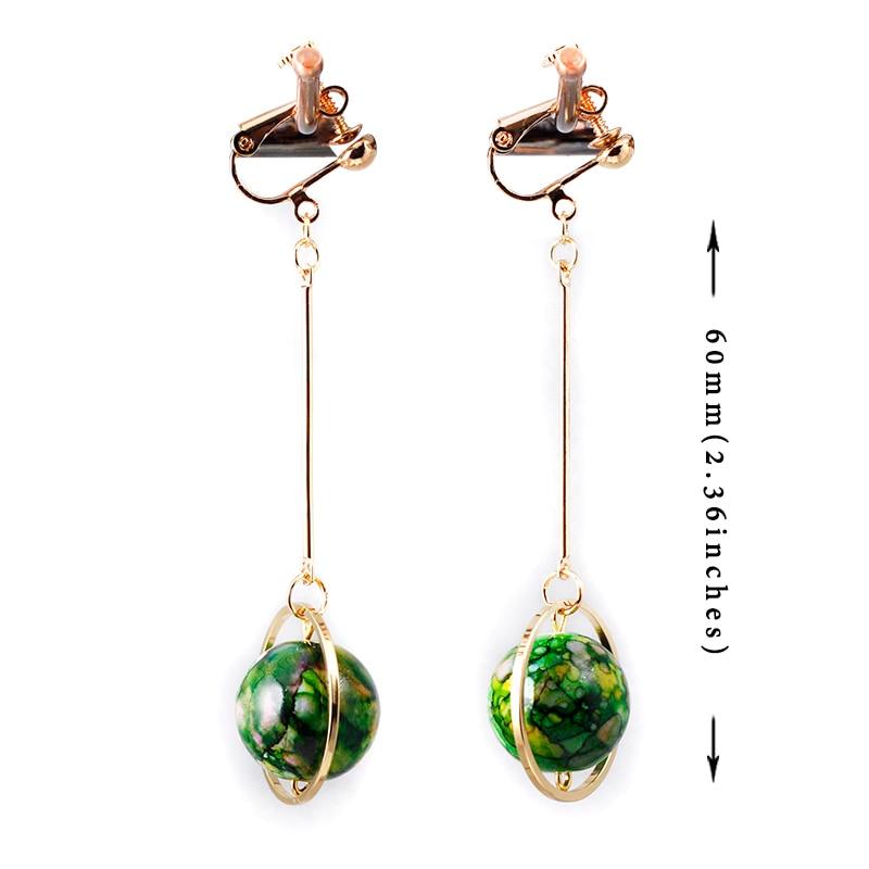 Colored Planet Earrings No Hole Ear Clip Geometry Round Red Pierced Women Tassel Earring Jewelry CE141