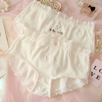 Japanese Lolita girl heart lovely pure cotton lace rabbit embroidered white  low waist briefs bragas mujer 25f5c7e4c